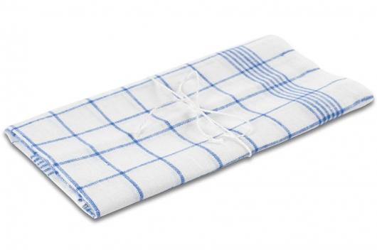 Hvitt håndkle med blå ruter