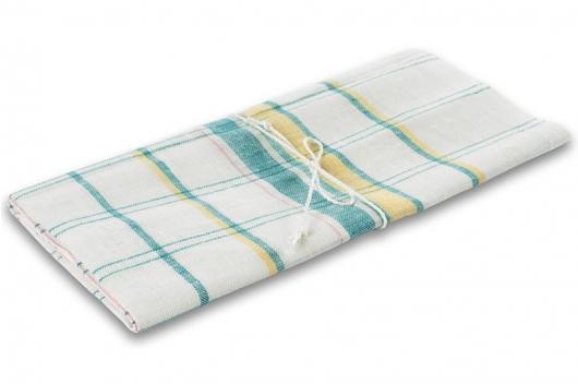 Hvitt håndkle med grønne/ gule striper