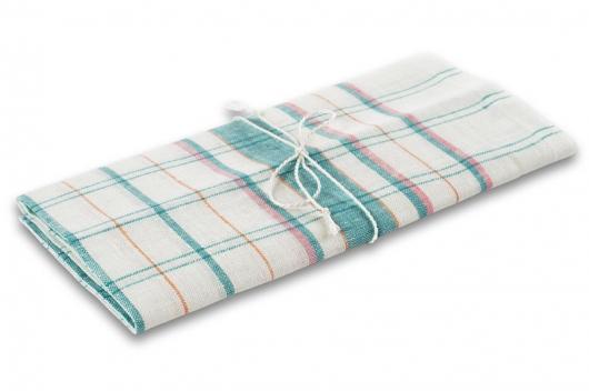 Hvitt hånkle med grønne og rosa striper