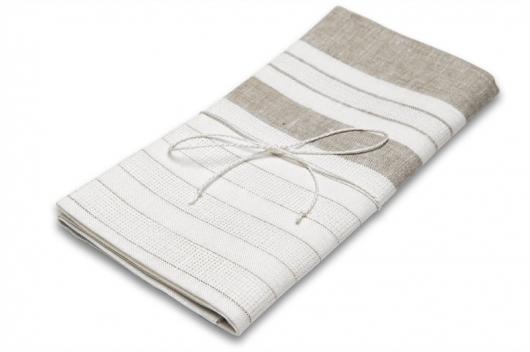 Hvitt stripete linhåndkle