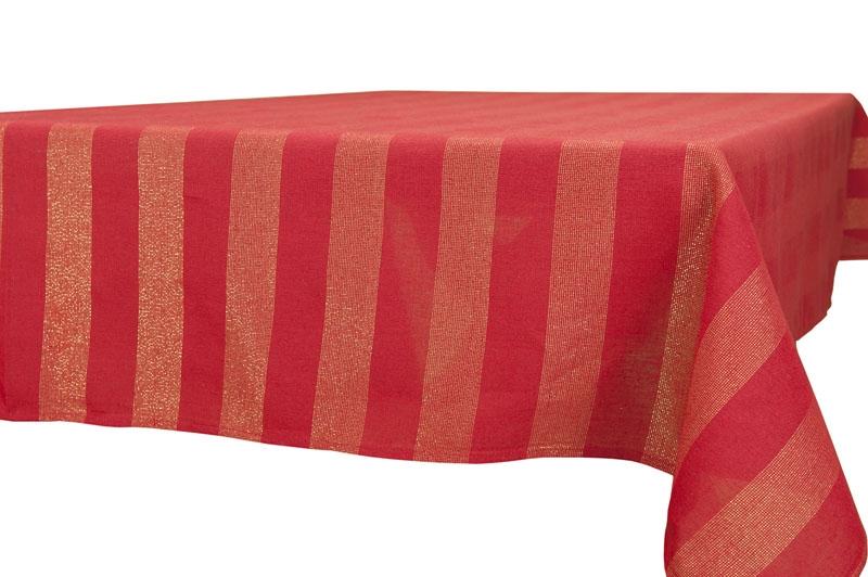 Rød duk med gule striper
