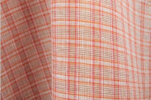 acd4ad89 Rutete 100% lin i rød/ oransje farge - linbutikken.no