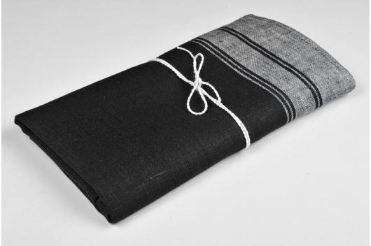 Svart 100% lin håndkle