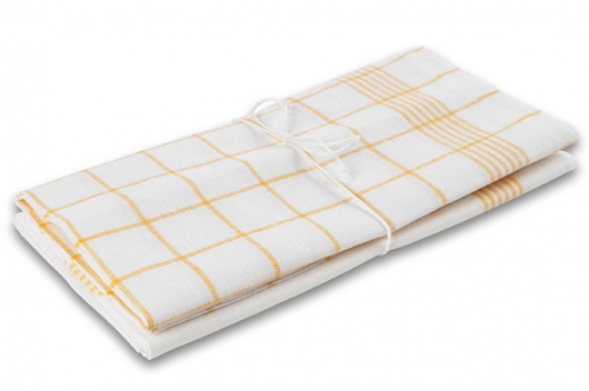 To håndklær med gule striper